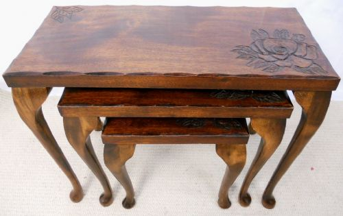 Oriental Carved Nest of Three Walnut Coffee Tables